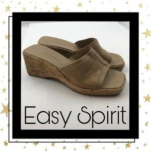 Easy Spirit Tan Wedge Slide Sandals 8 8M